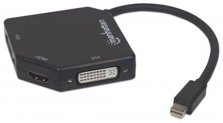 3-in-1 4K Mini DisplayPort Adapter - , Mini DisplayPort Male to HDMI/DVI/VGA Female, Active, Black