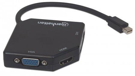 3-in-1 4K Mini-DisplayPort-Adapter MANHATTAN Mini-DisplayPort-Stecker auf HDMI/DVI/VGA-Buchse, aktiv, schwarz