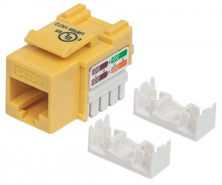 Cat5e Keystone Jack - , UTP, Yellow, Punch-down