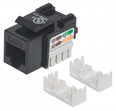 Cat5e Keystone Jack - , UTP, Black, Punch-down