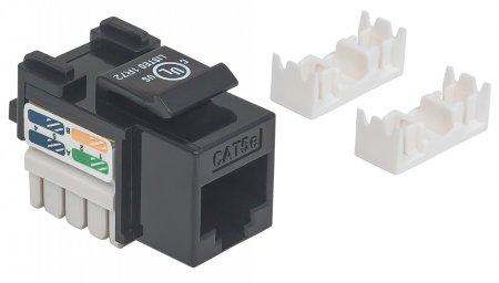 Cat5e Modularbuchse INTELLINET UTP, Keystone Jack, schwarz, benötigt LSA-Auflegewerkzeug