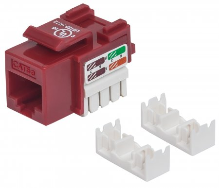 Cat5e Keystone Jack - , UTP, Red, Punch-down