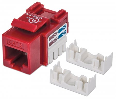Cat6 Keystone Jack - , UTP, Red, Punch-down