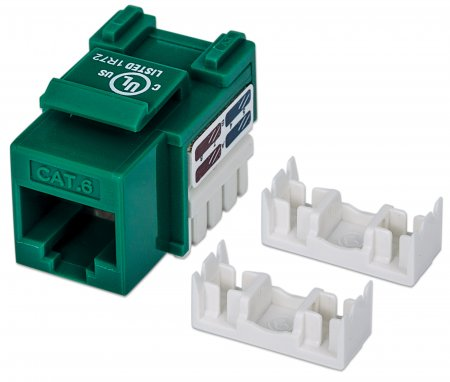Cat6 Keystone Jack - , UTP, Green, Punch-down