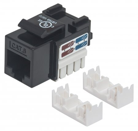 Cat6 Keystone Jack - , UTP, Black, Punch-down