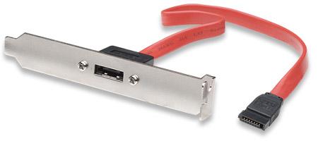Internes SATA auf externes SATA Slotblech interner L-Stecker auf externe I-Buchse, 1 Port MANHATTAN