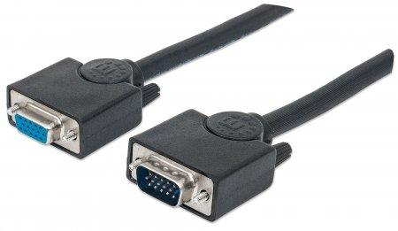 SVGA Verlängerungskabel MANHATTAN HD15 Stecker auf HD15 Buchse, Schwarz, 15 m