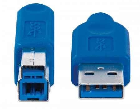 SuperSpeed USB-B Anschlusskabel MANHATTAN USB 3.0, Typ A Stecker - Typ B SuperSpeed Stecker, 5 Gbps, 3 m, blau