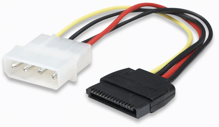 SATA Power Cable - , 4 Pin to 15 Pin, 16 cm (6.3 in.)