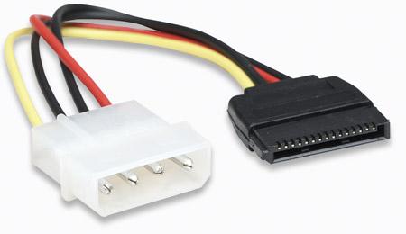 SATA Stromkabel MANHATTAN 4-pol. Molex-Stecker auf 15-pol. Stecker, 15 cm, zur Stromversorgung von internen PC-Komponenten