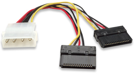 SATA Power Y Cable - , 4-pin Molex Male to Two 15-pin SATA Male, Internal Power, 6""