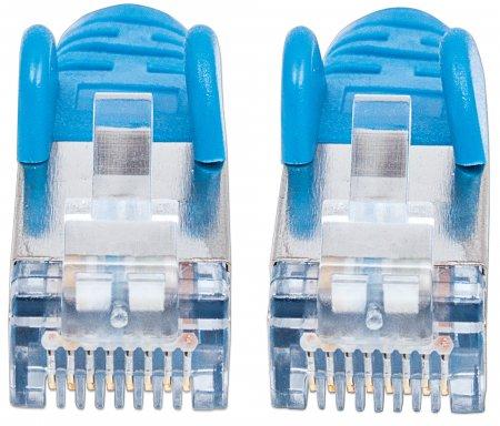 Premium Netzwerkkabel, Cat6a, S/FTP INTELLINET 100% Kupfer, Cat6a-zertifiziert, LS0H, RJ45-Stecker/RJ45-Stecker, 15,0 m, blau