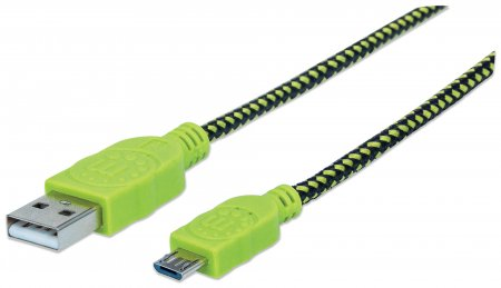 Braided Micro-USB Cable - Charge and Sync Your Mobile Device with a POP of Color, A Male / Micro-B Male, 1 m (3 ft.), Black/Green