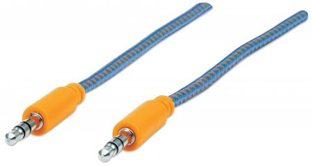 Audiokabel mit Stoffummantelung MANHATTAN 3,5mm-Klinkenstecker auf Stecker, 1 m, blau/orange