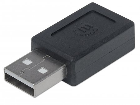 USB 2.0 Type-C to Type-A Adapter - , Type-C Female to Type-A Male, Black