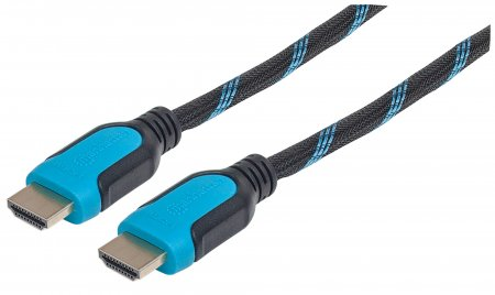 Braided High Speed HDMI Cable with Ethernet  - , HEC, ARC, 3D, 4K, HDMI Male to Male, Shielded, 2 m (6 ft.), Black/Blue