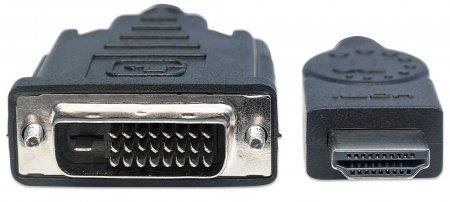HDMI auf DVI-Kabel MANHATTAN HDMI-Stecker auf DVI-D 24+1 Stecker, Dual Link, 3 m, schwarz