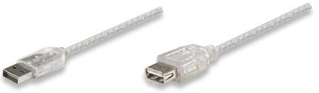 Hi-Speed USB 2.0 Verlängerungskabel MANHATTAN Typ A Stecker - Typ A Buchse, Silber, 3 m