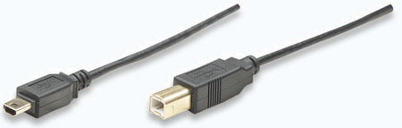 Hi-Speed USB 2.0 OTG Kabel B Stecker / Mini A Stecker, Schwarz. 1.8 m MANHATTAN