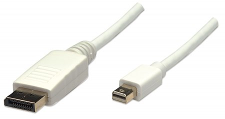 Mini DisplayPort Monitor Cable - , Mini DisplayPort Male to DisplayPort Male, 2 m (6.6 ft.), White