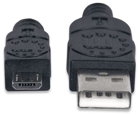 Hi-Speed USB Micro-B Anschlusskabel MANHATTAN USB 2.0, Typ A Stecker - Micro-B Stecker, 480 Mbps, 0,5 m, Schwarz