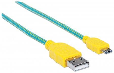 Hi-Speed Micro-B-USB-Kabel mit Stoffummantelung MANHATTAN USB 2.0, Typ A Stecker - Micro-B Stecker, 480 Mbps, 1,8 m, grün/gelb