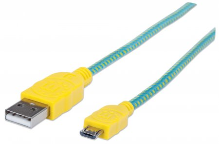 Braided Micro-USB Cable - Charge and Sync Your Mobile Device with a POP of Color, A Male / Micro-B Male, 1 m (3 ft.), Teal/Yellow