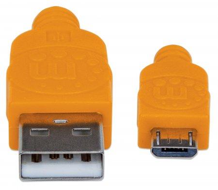 Hi-Speed Micro-B-USB-Kabel mit Stoffummantelung MANHATTAN USB 2.0, Typ A Stecker - Micro-B Stecker, 480 Mbps, 1 m, blau/orange
