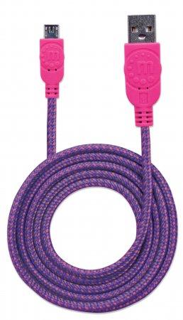 Hi-Speed Micro-B-USB-Kabel mit Stoffummantelung MANHATTAN USB 2.0, Typ A Stecker - Micro-B Stecker, 480 Mbps, 1,8 m, pink/lila