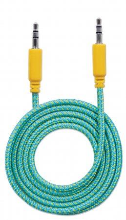 Audiokabel mit Stoffummantelung MANHATTAN 3,5mm-Klinkenstecker auf Stecker, 1,8 m, grün/gelb