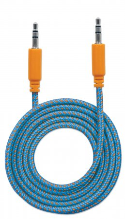 Audiokabel mit Stoffummantelung MANHATTAN 3,5mm-Klinkenstecker auf Stecker, 1,8 m, blau/orange