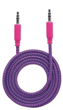 Audiokabel mit Stoffummantelung MANHATTAN 3,5mm-Klinkenstecker auf Stecker, 1 m, pink/lila