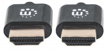 Ultradünnes High Speed HDMI-Kabel mit Ethernet-Kanal MANHATTAN HEC, ARC, 3D, 4K@60Hz, HDMI-Stecker auf HDMI-Stecker, geschirmt, schwarz, 3 m