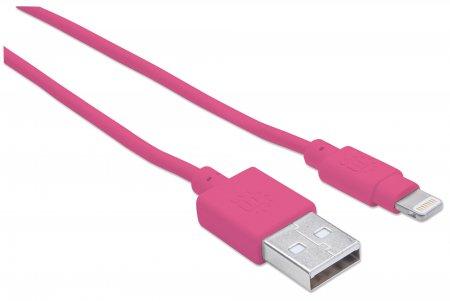 iLynk Lightning auf USB Kabel für iPad/iPhone/iPod MANHATTAN A-Stecker / Lightning-Stecker, 15 cm, pink