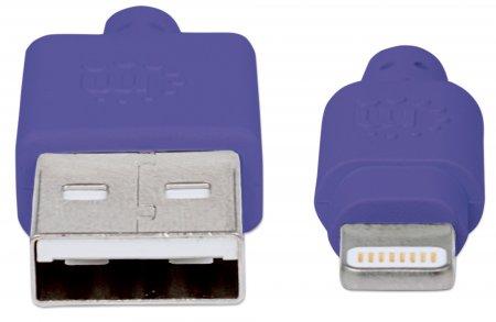 iLynk Lightning auf USB Kabel für iPad/iPhone/iPod MANHATTAN A-Stecker / Lightning-Stecker, 15 cm, lila