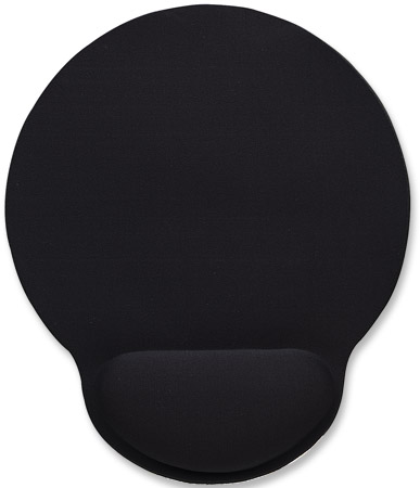 Wrist-Rest Mouse Pad - , Gel material promotes proper hand and wrist position, Black