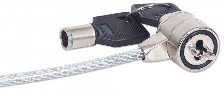 Notebook-Sicherheitsschloss MANHATTAN Stahlkabel, 1,4 m lang, Metallschloss mit Schlüssel