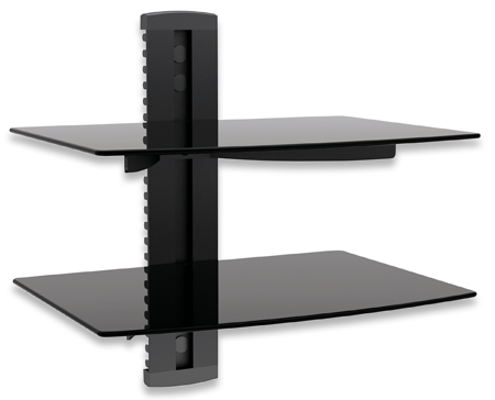 A/V Dual Component Wall Shelves - , Double shelf with cable management