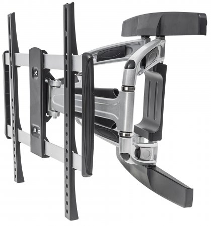 "Universal Aluminum LCD Full-Motion Wall Mount - , Holds One 32"" to 55"" Flat-Panel or Curved TV up to 50 kg (110 lbs.); Adjustment Options to Tilt, Swivel and Level; Black & Silver"