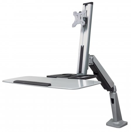 "Universal Sit/Stand Workstation Mount - , Single-Monitor Ergonomic Workstation, Gas-Spring Counterbalance, Supports One 13"" to 32"" Monitor"