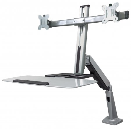 "Universal Sit/Stand Workstation Mount - , Dual-Monitor Ergonomic Workstation, Gas-Spring Counterbalance, Supports Two 13"" to 27"" Monitors"