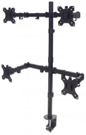 Tischhalterung mit Monitorarm für vier Displays MANHATTAN Für vier Displays von 13'' bis 32'' und bis zu 8 kg, zweifach schwenkbar, schwarz