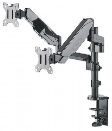 Universal-Tischhalterung mit Gasdruckfeder für zwei Monitore MANHATTAN Zwei Halterungsarme mit Gasdruckfeder, Kugelgelenk und Verlängerungsarm, geeignet für zwei Monitore von 17'' bis 32''* und bis zu