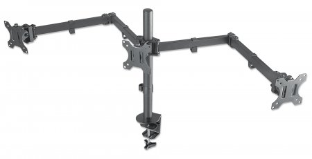 "LCD Monitor Mount with Center Mount and Double-Link Swing Arms - , Supports Three LCD Monitors up to 27"", One Center Mounted and Two on Double-Link Swing Arms"