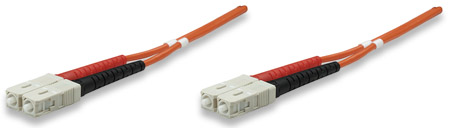 Glasfaser LWL-Anschlusskabel, Duplex, Multimode INTELLINET SC/SC, 50/125 µ, OM2, 1 m, orange