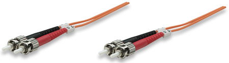 Fiber Optic Patch Cable, Duplex, Multimode - , ST/ST, 50/125 µm, OM2, 1.0 m (3.0 ft.), Orange