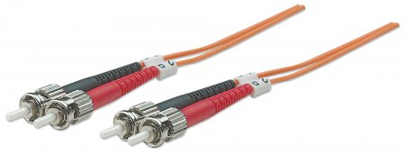 Glasfaser LWL-Anschlusskabel, Duplex, Multimode INTELLINET ST/ST, 50/125 µ, OM2, 10 m, orange