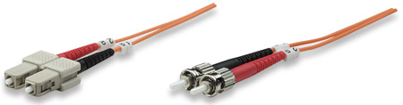 Fiber Optic Patch Cable, Duplex, Multimode - , ST/SC, 50/125 µm, OM2, 1.0 m (3.0 ft.), Orange