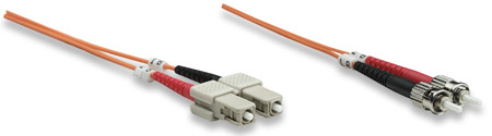 Glasfaser LWL-Anschlusskabel, Duplex, Multimode INTELLINET ST/SC, 50/125 µm, OM2, 1 m, orange