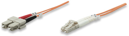 Fiber Optic Patch Cable, Duplex, Multimode - , LC/SC, 50/125 µm, OM2, 1.0 m (3.0 ft.), Orange